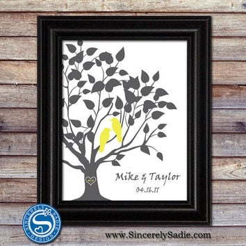 Custom Wedding Anniversary Tree and Family Tree 8x10 Print - Pick Your Colors - Wedding Gift, Anniversary Gift, Gift for Wife