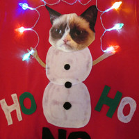 Grumpy Cat Ugly Christmas Sweater Lights up  will make any size Small Medium Large Xlarge Ships in 36 hours or less
