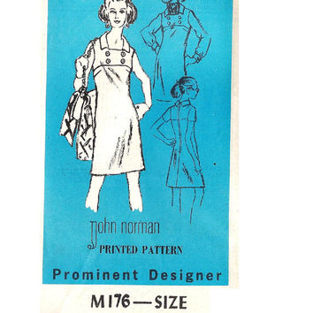 1970s Retro Prominent Designer John Norman Mail Order Sewing Pattern High Yoke A-line Casual Day Dress Uncut Bust 40 Plus Size
