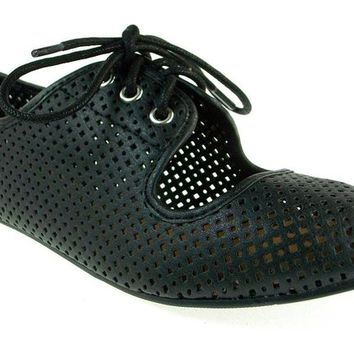 Women's Qupid Perforated Lace Up Flat Shoes Salya-747 Black