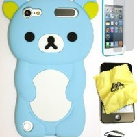 Bukit Cell 3D Cartoon Bundle 4 Items: Baby Blue Bear Soft Silicone Case for Ipod Touch 6 6th Generation / 5 5th Generation + Cleaning Cloth + Screen Protector + Metallic Stylus Touch Pen