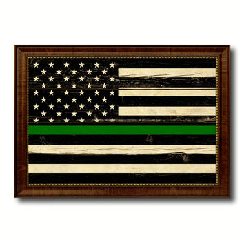 Thin Green Line Support Border Patrol American USA Flag Vintage Canvas Print with Brown Picture Frame Gifts Ideas Home Decor Wall Art Decoration