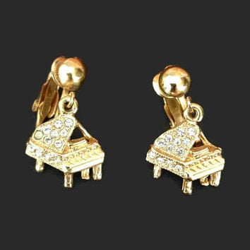 Vintage Earrings / Signed ORA Baby Grand Piano Earrings, Gold Tone and Rhinestone, Clip On Dangle Earrings, Music Jewelry