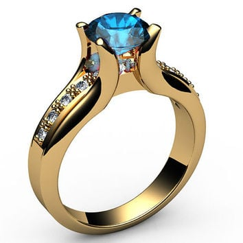 Topaz Engagement Ring 18K Yellow Gold Tension Ring