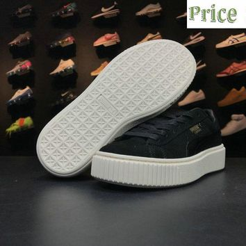 Where To Buy 2018 Rihanna x PUMA Basket Suede Platform Fenty Creeper Black sneaker
