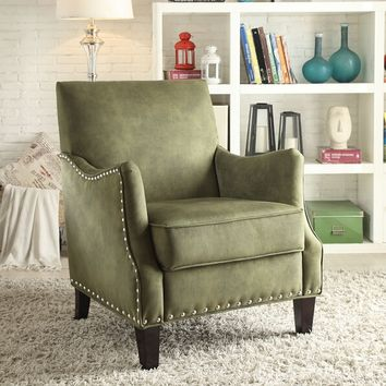 Acme 59446 Sinai olive fabric upholstered accent chair with nail head trim
