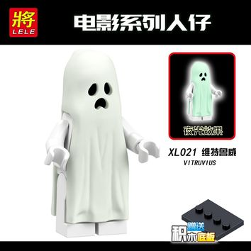 XL021 Legoing Movie Monster Warrior Halloween Vitruvius Ghost Zombie Building Blocks Toys for Child Legoings Figures Noctilucous