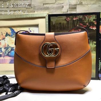 HCXX 1957 Gucci 2019 Shinee GG Magnet Shoulder Canvas Leather Handbag Coffee