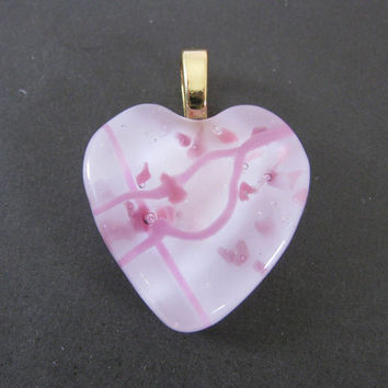 Heart Pendant with Pink on Pink Fused Glass by mysassyglass