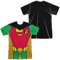 TEEN TITANS GO/ROBIN UNIFORM (FRONT/BACK PRINT)-S/S ADULT POLY CREW-WHITE