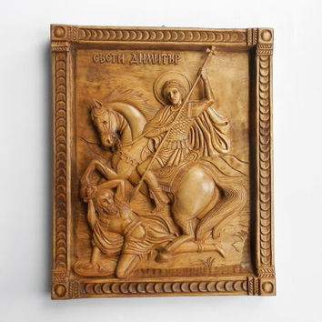 Saint Demetrius Wooden Icon Wooden Icon Hand-Carved Icon Saint Demetrius Orthodocsal Icon Orthodox Holy Icon