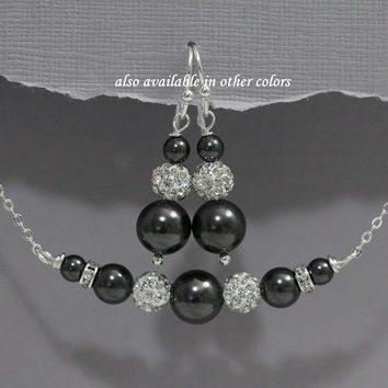 Black Jewelry Set, Black Pearl Bridesmaid Jewelry Set, Bridesmaid Jewelry, Bridesmaid Gift, Maid of Honor Jewelry, Mother of the Groom Gift