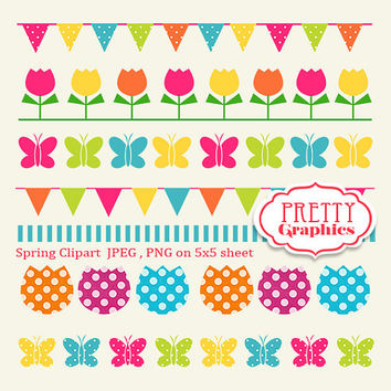Spring Clipart 01 - JPEG , PNG - Instant Download - Commercial Use - 5x5 Sheet - Scrapbook Kit - Embellishments - High Quality 300 dpi
