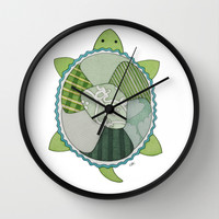 Key Lime Turtle Wall Clock by Erin Brie Art