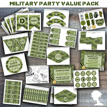 Party Printable Military Army Soldier Boot Camp Party Value Pack