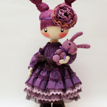 Doll Frusya purple rag doll violet