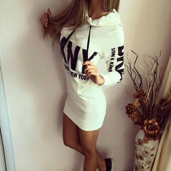 White Graphic Print Hooded Long Sleeve Bodycon Dress