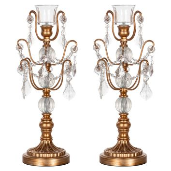 2-Piece Chandelier Candlestick Candelabra Set with Glass Crystals (Gold)
