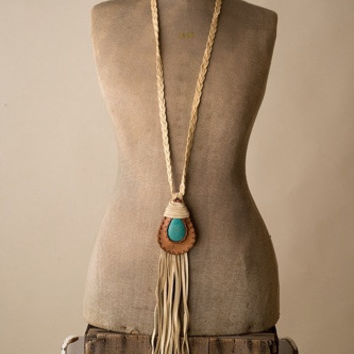 Braided Necklace w/Teardrop Turquoise and Leather Piece
