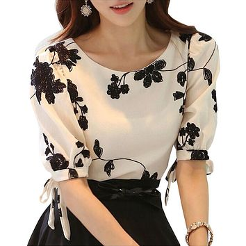 Women Shirt Summer Top Floral Black Embroidered White Slim Chiffon Blouse Casual Plus Size Bow Half Sleeve Shirt Women Clothing