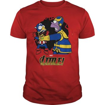 Homer Simpson Thanos vs Bart Simpson Captain America shirt Guys Tee