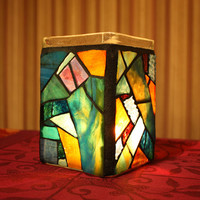 Stained Glass Candle Holder, Mosaic Beach Jar Candle Holder /vase/ pencil holder