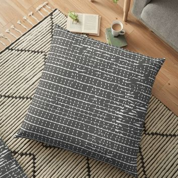 'Broken Stripes & Dots' Floor Pillow by DuckyB