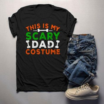 Men's Funny Halloween T Shirt This Is My Scary Dad Costume Tee Bones Dad Shirts