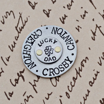 Golf marker Gift for Dad, Papa, Pop, Poppy, or Grandpa, Personalized Hand Stamped Golf Ball marker