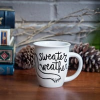Sweater Weather Ceramic Coffee Mug Coffee Cup Hand Painted Unique Design Customizable » Craftori