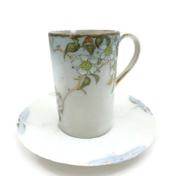 Antique Chocolate Demitasse Porcelain Cup - Miniature Teacup Saucer