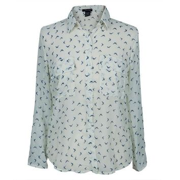 DCCKU3R Birds Repeat All-Over Women's Long Sleeve Button Up Shirt