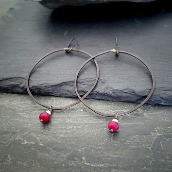 Rustic Oxidized Sterling Silver Large Black Hoop Ruby Earrings, Artisan, Dangling Bead Charm Dark Hoop, Black Silver Dark Red Ruby Gemstone