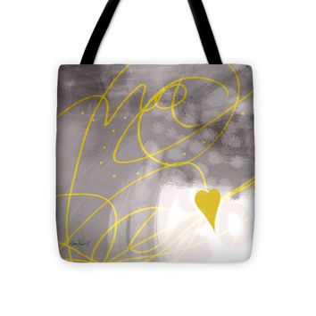 "Heart Yellow and Gray Tote Bag 16"" x 16"""