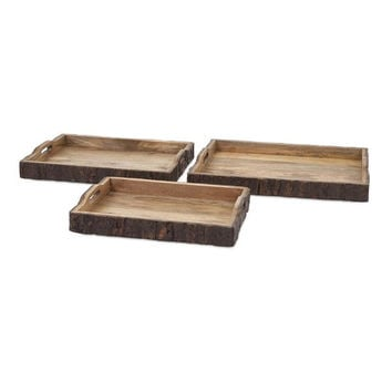 Nakato Wood Bark Serving Trays by Imax
