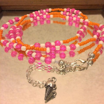 Rainbow Sherbet Pink, White & Orange Scented African Stretch Adjustable Waist Beads