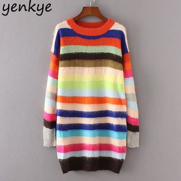 Women Rainbow Striped Sweater Casual Long Sleeve O Neck Knitted Pullover Autumn Winter