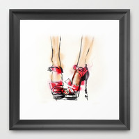 Red shoes Framed Art Print by Tatiana-teni