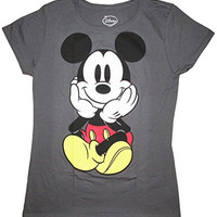 Disney Juniors Mickey Mouse Sitting Front Back T-Shirt (Large, Grey)