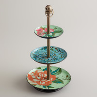 Blue Enameled Three-Tiered Jewelry Stand - World Market