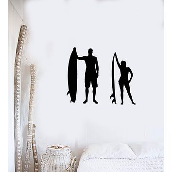Vinyl Wall Decal Surfing Couple Silhouette Man Woman Surfers Beach Art Stickers Mural (ig5842)