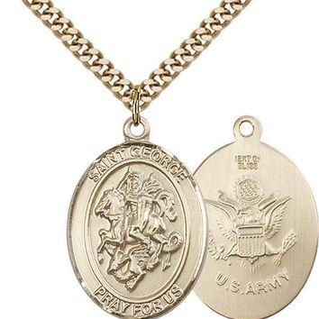 14K Gold Filled St George Army Military Soldier Catholic Medal Necklace 617759773187