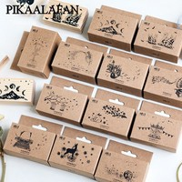 PIKAALAFAN Ornate Chapters Series Boxes Wood Stamp Scrapbook DIY Photo Album Card Decoration Craft Wooden Rubber  Stamp Toy