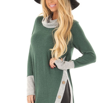 Emerald Two Tone Cowl Neck Top with Split Hem