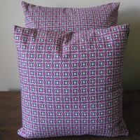 FREE SHIPPING Fuschia & Green Cotton Pillow Covers - Set of 2 - home decor throw pillows accent abstract modern olive pink