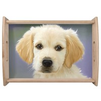 Cute and Adorable White Puppy Serving Tray