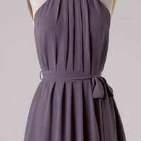 Pleated Halter Dress - Gray