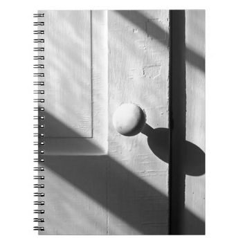 Black and White Door and Shadows Spiral Note Books