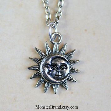 Tiny Silver Celestial Sun and Moon Necklace