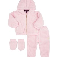 Baby 3 Piece Sherpa Track Set With Mittens by Juicy Couture